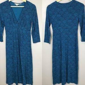 Boden Womens Blue V Neck Jersey Ruched Wrap Dress